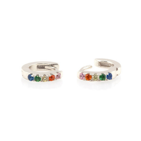 Rainbow Pave Huggie Earrings in Silver