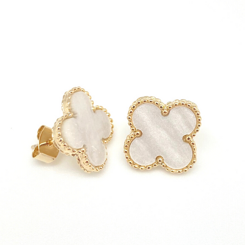 Large Mother of Pearl Quatrefoil Stud Earrings in Gold