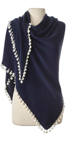 Cashmere Contrast Pom Pom Triangle Wrap in Midnight/Ivory