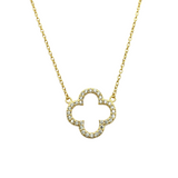 VC Single Open Quatrafoil Necklace in Gold