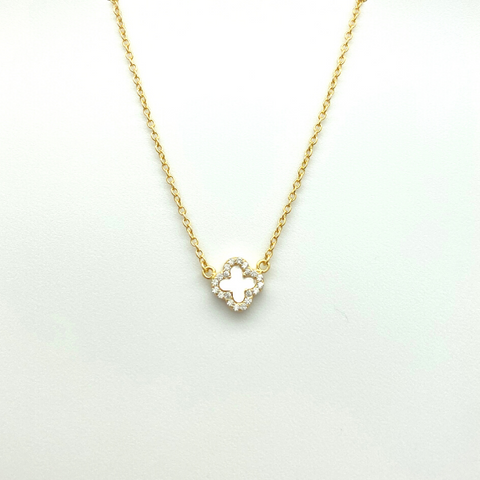 Mini Mother of Pearl Quatrafoil Necklace in Gold