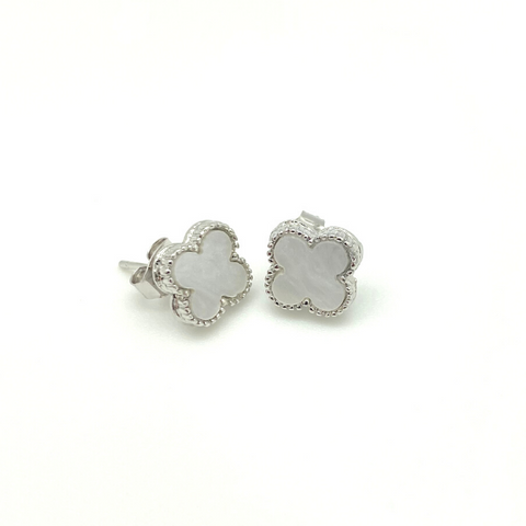 Small Silver Mother of Pearl Quatrefoil Stud Earrings