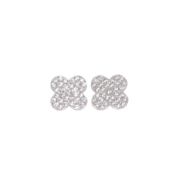 CZ Quatrafoil Earrings - Silver