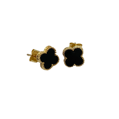 Small Black Quatrefoil Stud Earrings
