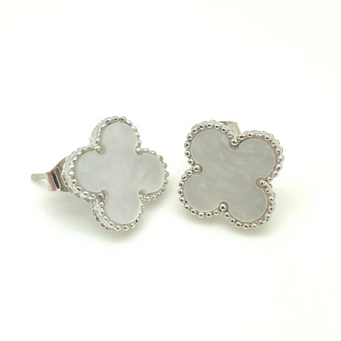 Large Silver Mother of Pearl Quatrefoil Stud Earrings