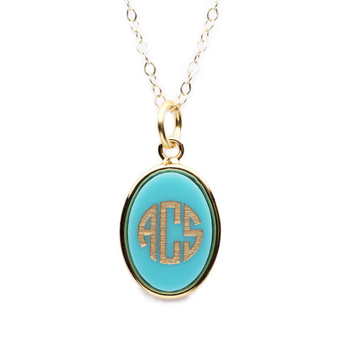 Vineyard Oval Monogram Pendant