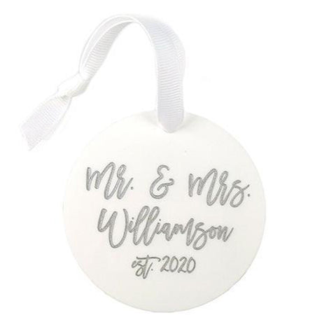 Personalized White Wedding Ornament