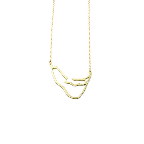 XL Island Outline Necklace in Gold by Skar Jewelry