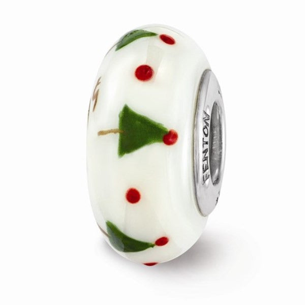 White Christmas Tree Glass Bead