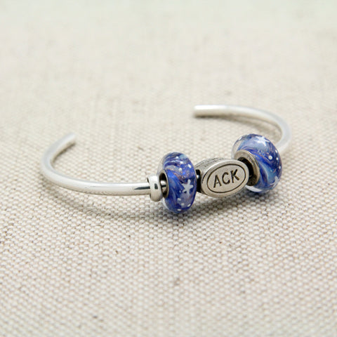 Cuff Bracelet with ACK Charm Bead