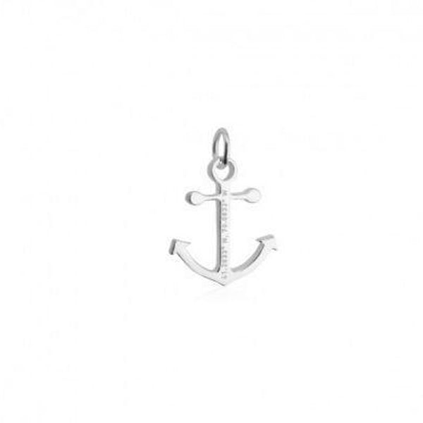 Nantucket Anchor Coordinates Bracelet Charm in Sterling Silver