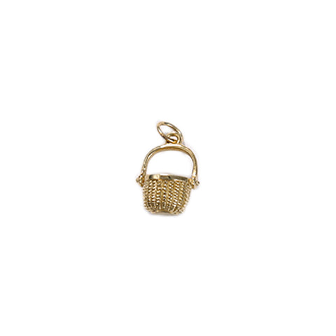 Nantucket Basket Bracelet Charm in 14kt Gold