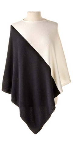 Cashmere Color Block Cape in Ivory/Black