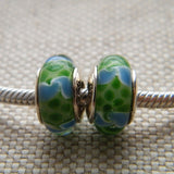 Blue and Green Swirl Glass Bead