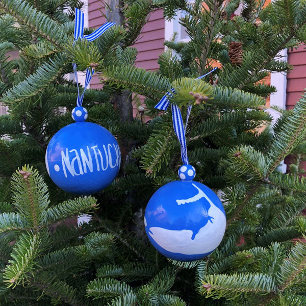 Blue With White Nantucket Island Ornament
