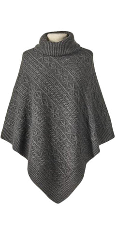 Cashmere Turtleneck Cable Poncho in Charcoal