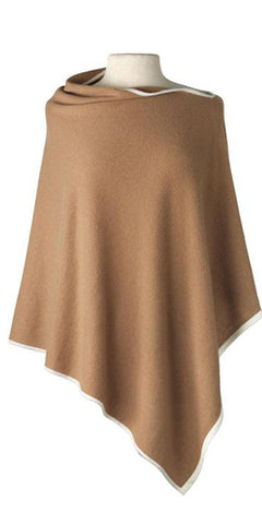 Cashmere Cape in Camel Tipped With Ecru