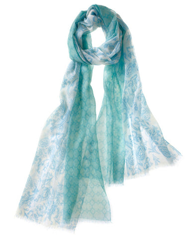 Catena Featherweight Cashmere Scarf in Green Opal