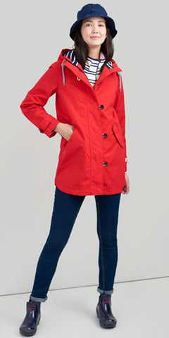Coast Mid Waterproof Jacket in Red by Joules