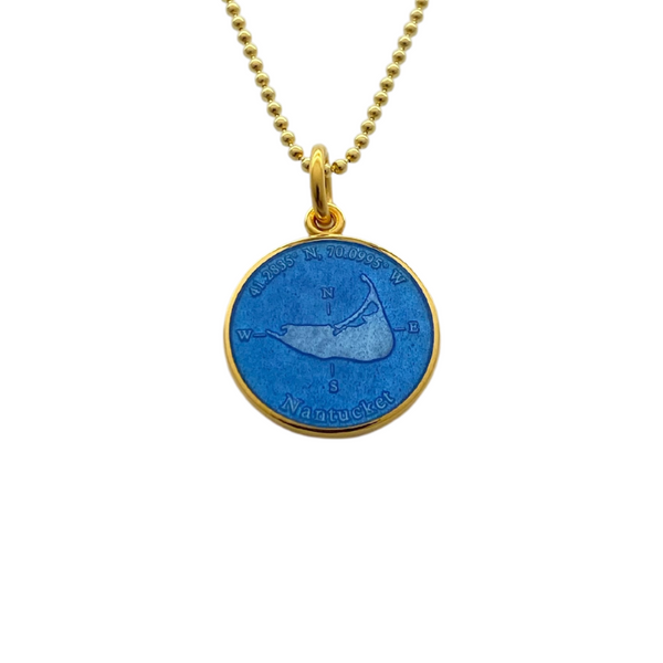 Small Colby Davis Gold Nantucket Charm in French Blue