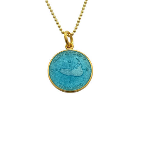 Small Colby Davis Gold Nantucket Charm in Light Blue