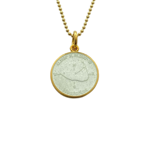 Small Colby Davis Gold Nantucket Charm in White