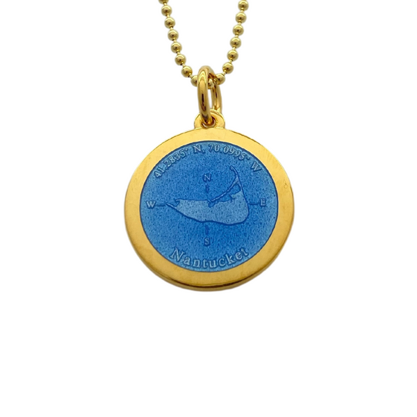 Medium Colby Davis Gold Nantucket Charm in French Blue