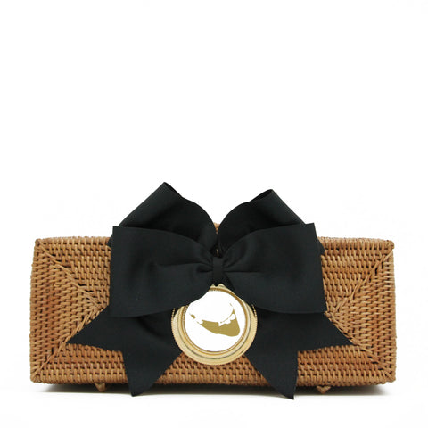 Nantucket Straw Clutch with Black Bow