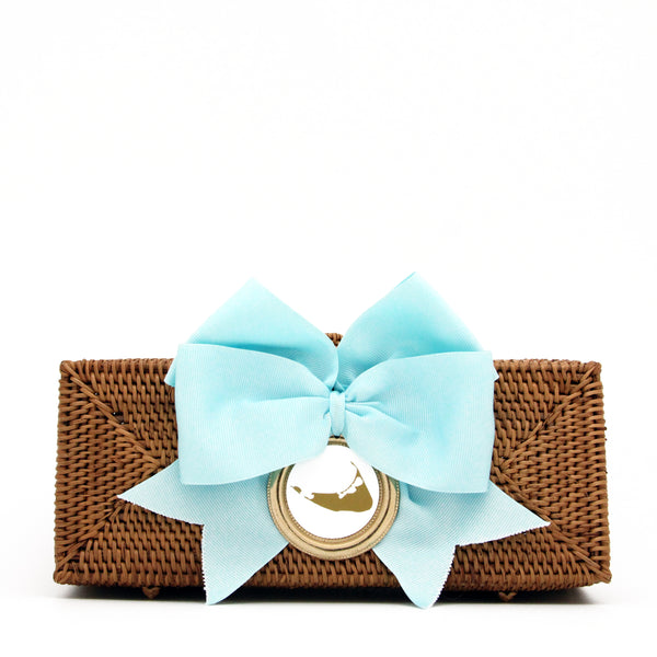 Nantucket Straw Clutch with Blue Bow