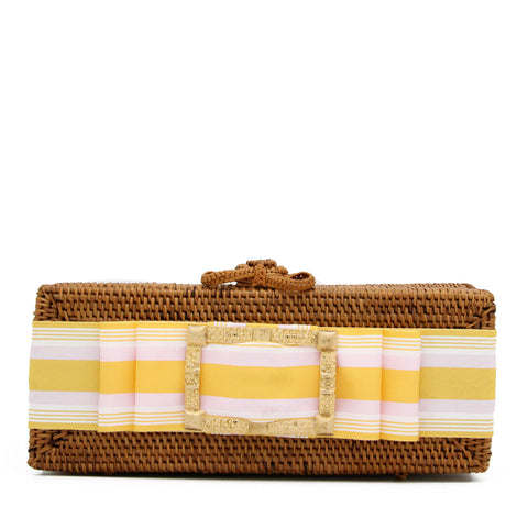 Colette Gold Buckle Clutch with Pink Lemonade Ribbon
