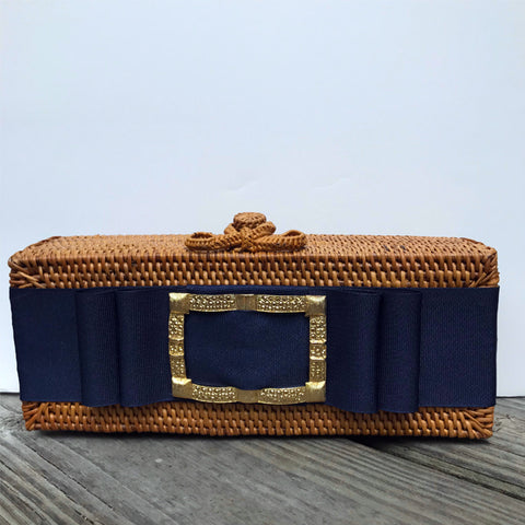 Colette Gold Buckle Clutch with Navy Ribbon