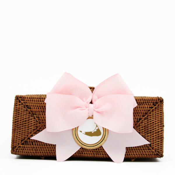 Nantucket Straw Clutch with Light Pink Bow