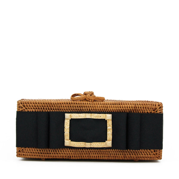 Colette Gold Buckle Clutch with Black Ribbon