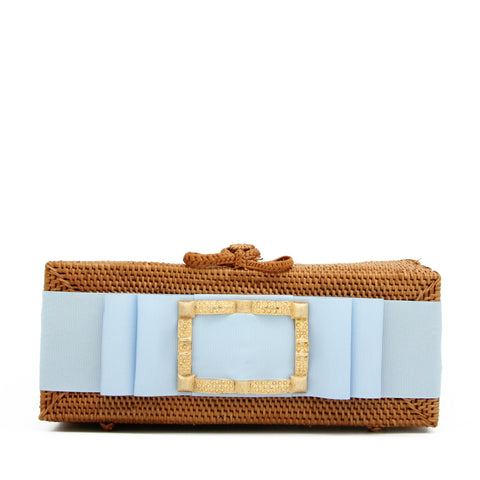 Colette Gold Buckle Clutch with Blue Ribbon