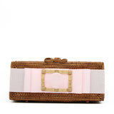Colette Gold Buckle Clutch with Pale Pink Ribbon