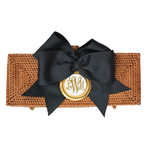Monogram Colette Clutch with Black Ribbon