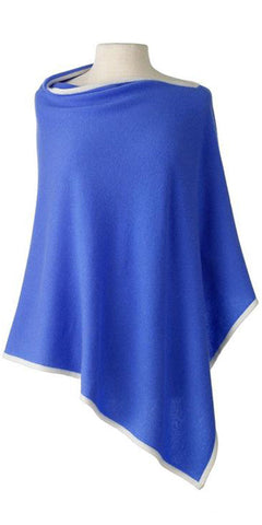 Cashmere Cape in Cornflower Tipped With Ecru