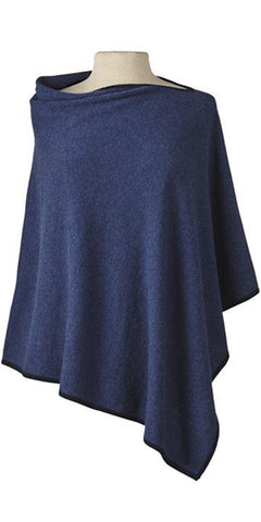 Cashmere Cape in Denim Tipped with Midnight