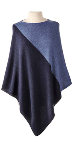 Cashmere Color Block Cape in Denim/Midnight