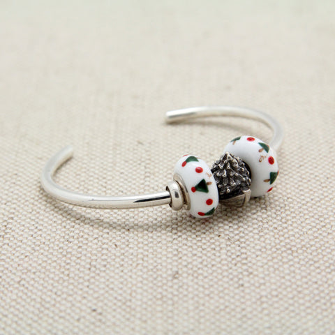 Cuff Bracelet with Christmas Dory & White Beads