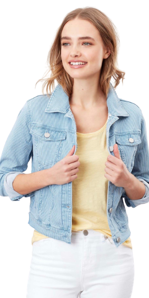 Elsa Stripe Denim Jacket