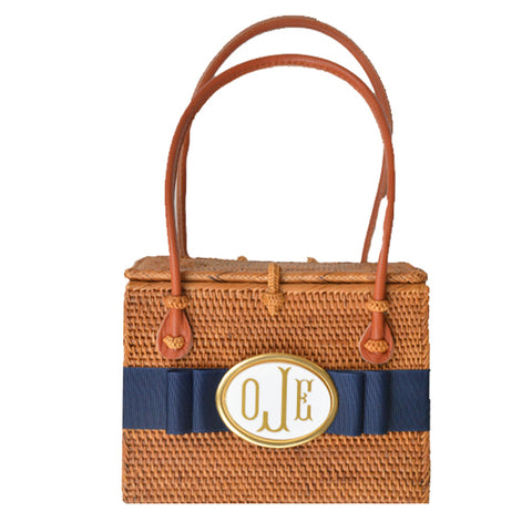 Monogram Emory Bag with Navy Ribbon