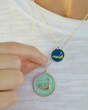 Small Enamel Nantucket Island Charm Necklace in Pearlized White