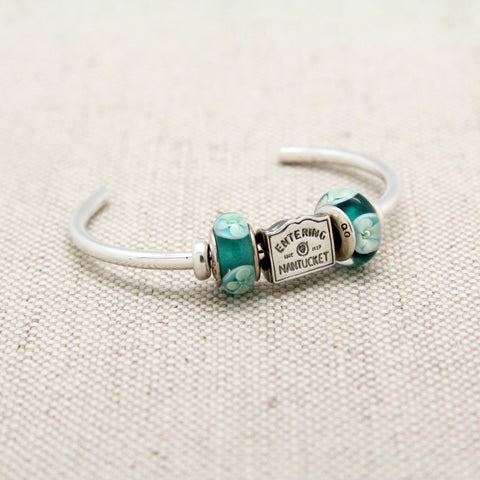 Cuff Bracelet with Entering Nantucket Charm Bead