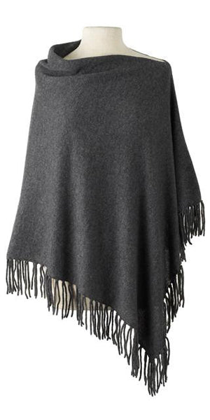 Cashmere Fringe Cape in Charcoal