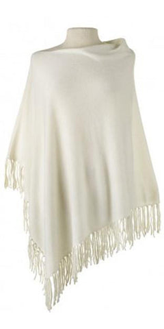 Cashmere Fringe Cape in Ivory
