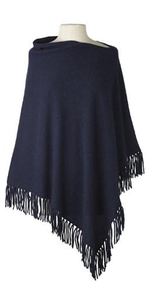 Cashmere Fringe Cape in Midnight