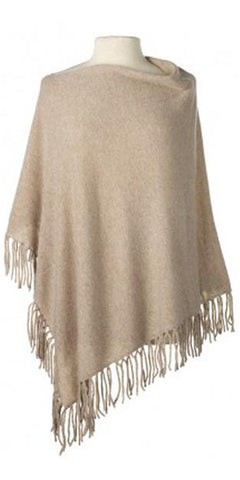 Cashmere Fringe Cape in Oatmeal
