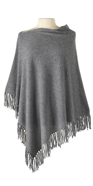 Cashmere Fringe Cape in Oxford