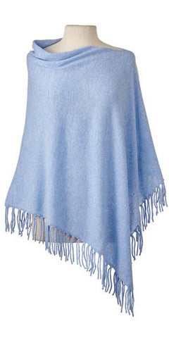 Cashmere Fringe Cape in Sky